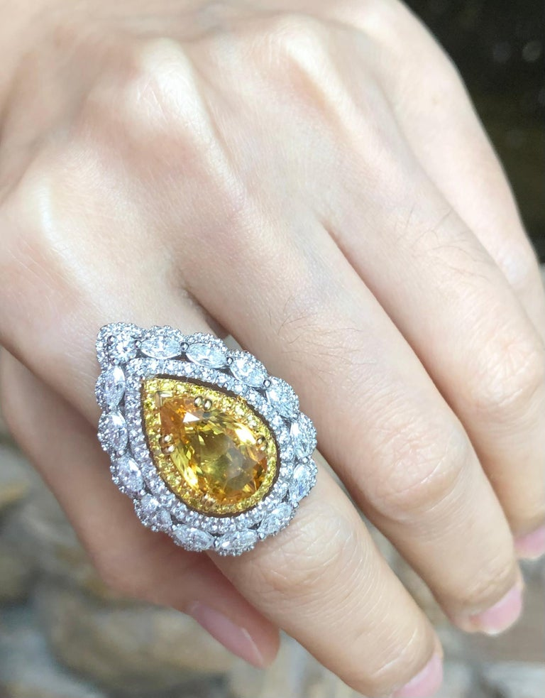 Yellow Sapphire with Diamond and Yellow Diamond Ring Set in 18 Karat White Gold For Sale 1
