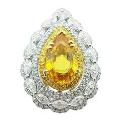 Yellow Sapphire with Diamond and Yellow Diamond Ring Set in 18 Karat White Gold