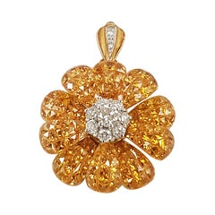 Yellow Sapphire with Diamond Flower Brooch or Pendant Set in 18 Karat Gold