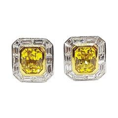 Yellow Sapphire with Diamond Earrings Set in 18 Karat White Gold Settings