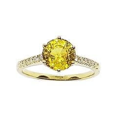Yellow Sapphire with Diamond Ring Set in 18 Karat Gold Settings