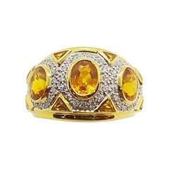 Yellow Sapphire with Diamond Ring Set in 18 Karat Gold Settings