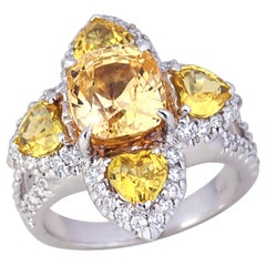 Yellow Sapphire with Diamond Ring Set in 18 Karat White Gold