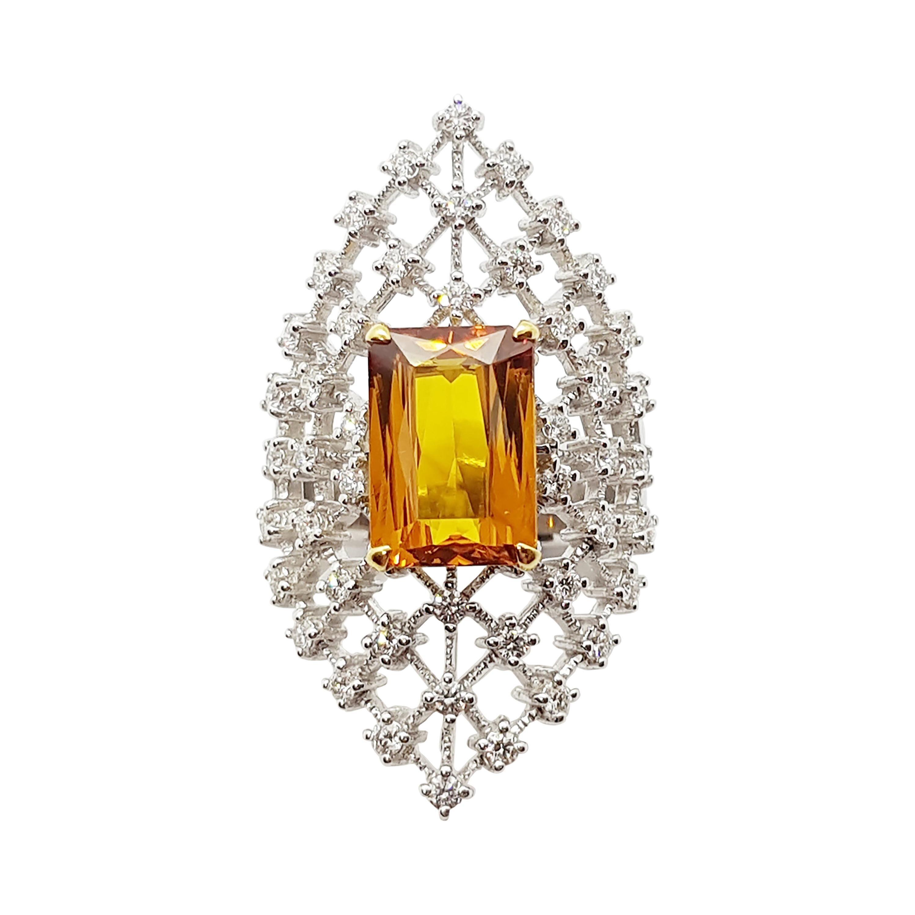 Yellow Sapphire with Diamond Ring Set in 18 Karat White Gold Settings