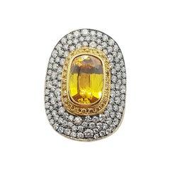 Yellow Sapphire with Yellow Diamond and Diamond Ring Set in 18 Karat Gold