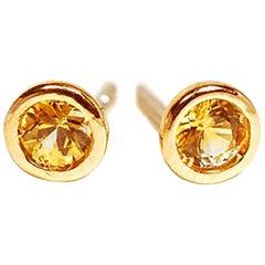 Yellow Sapphire Yellow Gold Bezel Set Stud Earrings