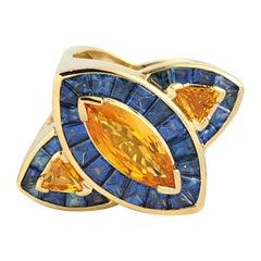 Yellow Sapphire, Yellow Sapphire, Blue Sapphire Ring in 18 Karat Gold Setting