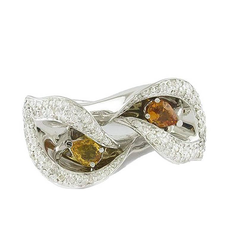 Yellow Sapphire Diamond White Gold Flower Ring