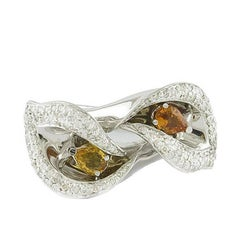 Yellow Sapphire Diamond White Gold Flower Ring