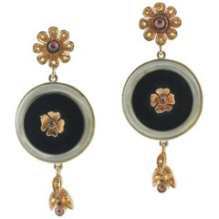 Yellow Sapphires Garnets Onyx Mother of Pearl Rose Gold and Silver Earrings