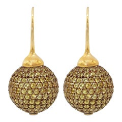 Yellow Sapphires Pave 18 Karat Yellow Gold Earrings