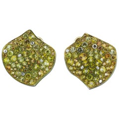 Yellow Sapphires  Diamond Titanium 18 Karat Gold Earrings