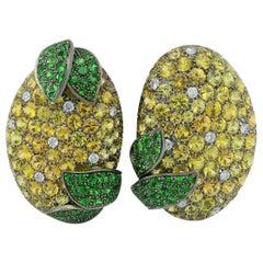 Yellow Sapphires Tsavorite Diamond Titanium Gold Earrings