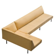 Yellow Sectional Corner Sofa in Structured Yellow Fabric