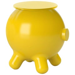Yellow Side Table, Decorative Auxiliary Table, Pogo by Joel Escalona