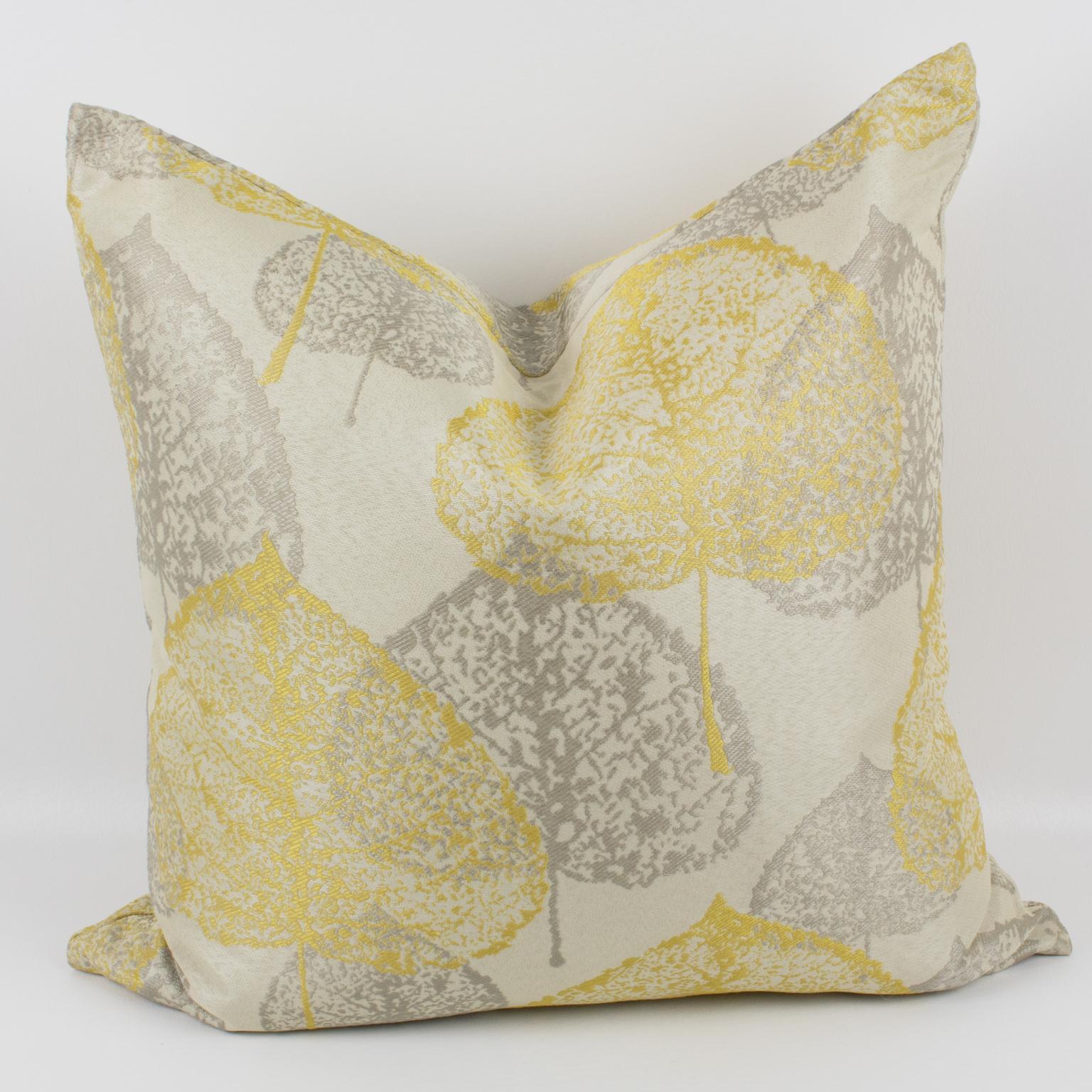 Yellow Silver Gray Damask Throw Pillow