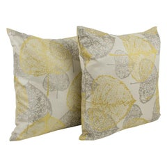 Yellow Silver-Gray Damask Throw Pillow, a pair