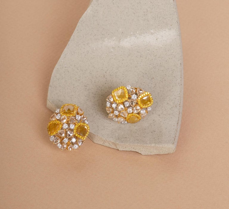 Yellow Slice, Rose-Cut Diamond 18 Karat Golden Cosmos Earrings by Manpriya B In New Condition For Sale In London, GB