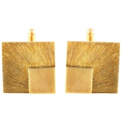 Yellow Square Accent Gold Cufflinks
