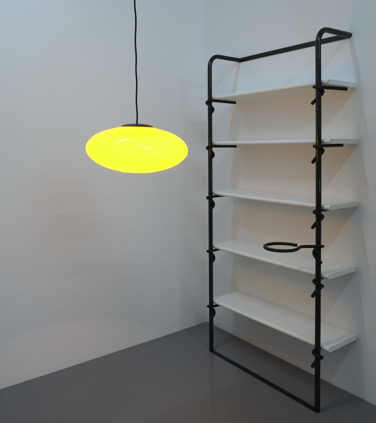 Mid-Century Modern Yellow Stilnovo Glass Ball Pendant Lamp, Midcentury Italy For Sale