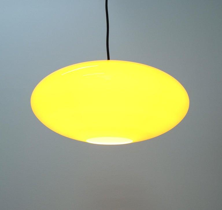 Brass Yellow Stilnovo Glass Ball Pendant Lamp, Midcentury Italy For Sale