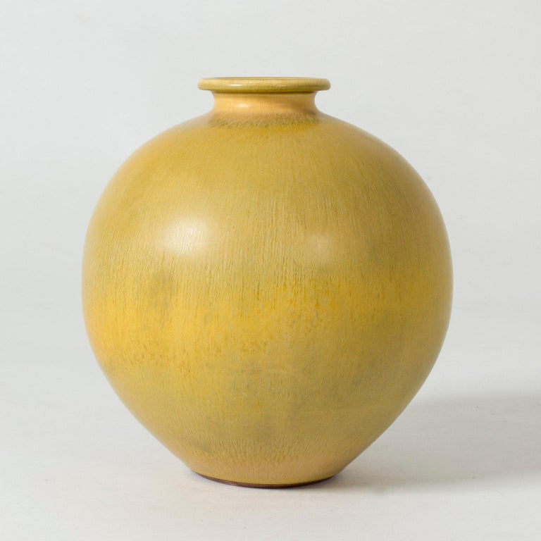 Scandinavian Modern Yellow Stoneware Vase by Berndt Friberg