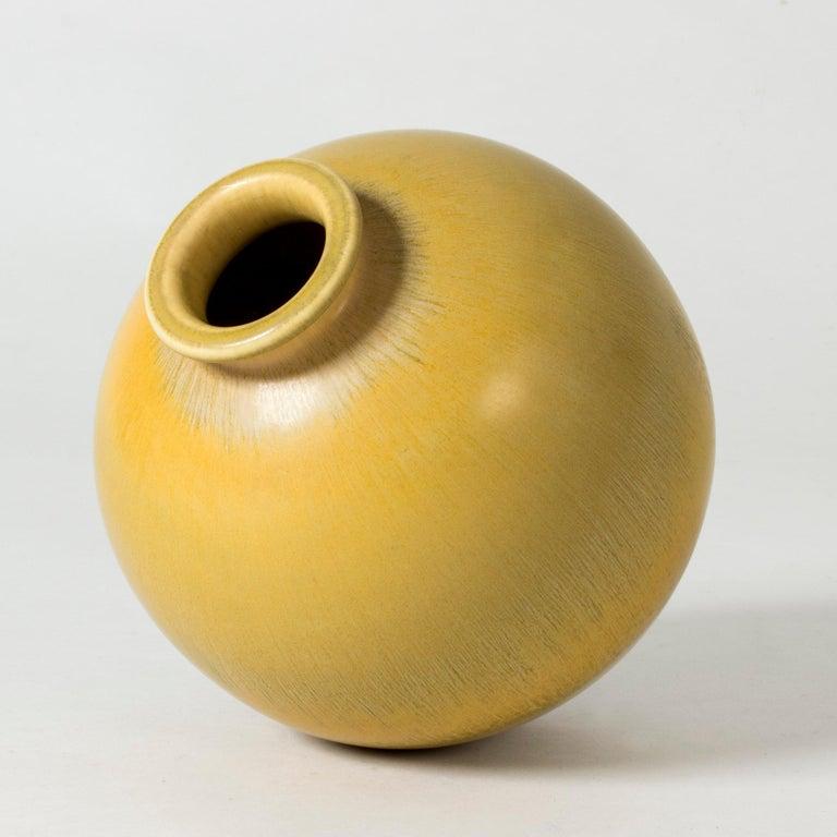 Swedish Yellow Stoneware Vase by Berndt Friberg