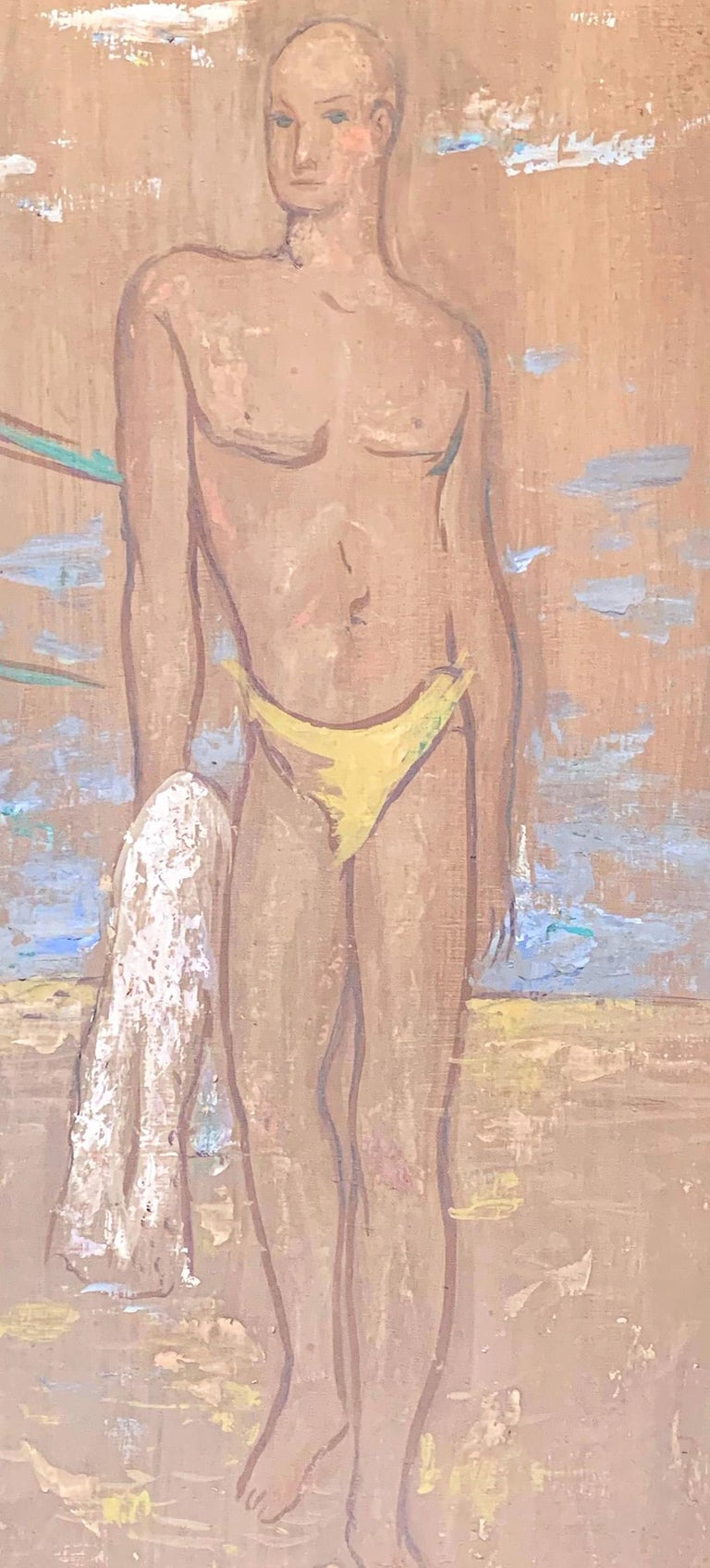 This pale, almost ghostly painting by John Winters depicts a tall, lithe young man with a yellow swimsuit and towel on the beach along Lake Michigan in Chicago, with two other figures under a sheltering canopy to one side. The figure and the setting