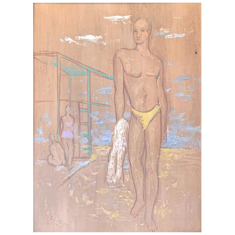 """""""Yellow Swimsuit,"""" Ghostly Casein Painting of a Man at the Beach, in 1943 For Sale"""