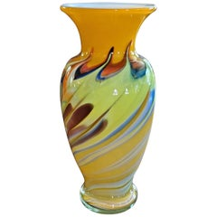 Yellow Swirled Murano Glass Vase, MCM