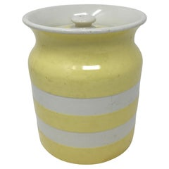 Yellow T. G. Green Cornishware Cannister with Lid