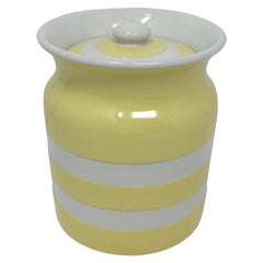 Yellow T. G. Green Cornishware Small Cannister with Lid