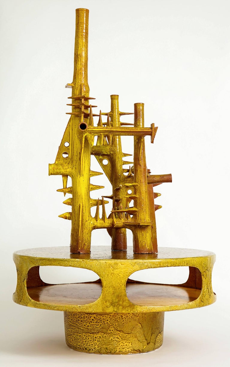 Yellow Ceramic Sculpture with Geometric Design For Sale 3