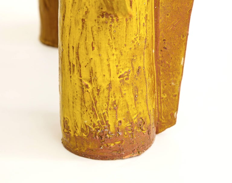 Yellow Ceramic Sculpture with Geometric Design For Sale 6