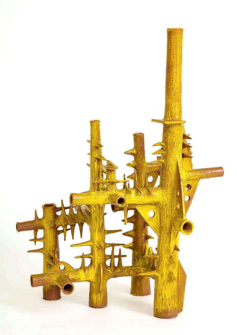 Yellow Ceramic Sculpture by French Architect In Good Condition For Sale In New York, NY