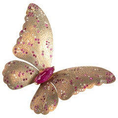 Yellow Titanium Butterfly Half-Earring Set with Rubies and Diamonds