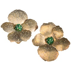 Yellow Titanium Hibiscus Flower Earrings with Diamonds and Emeralds