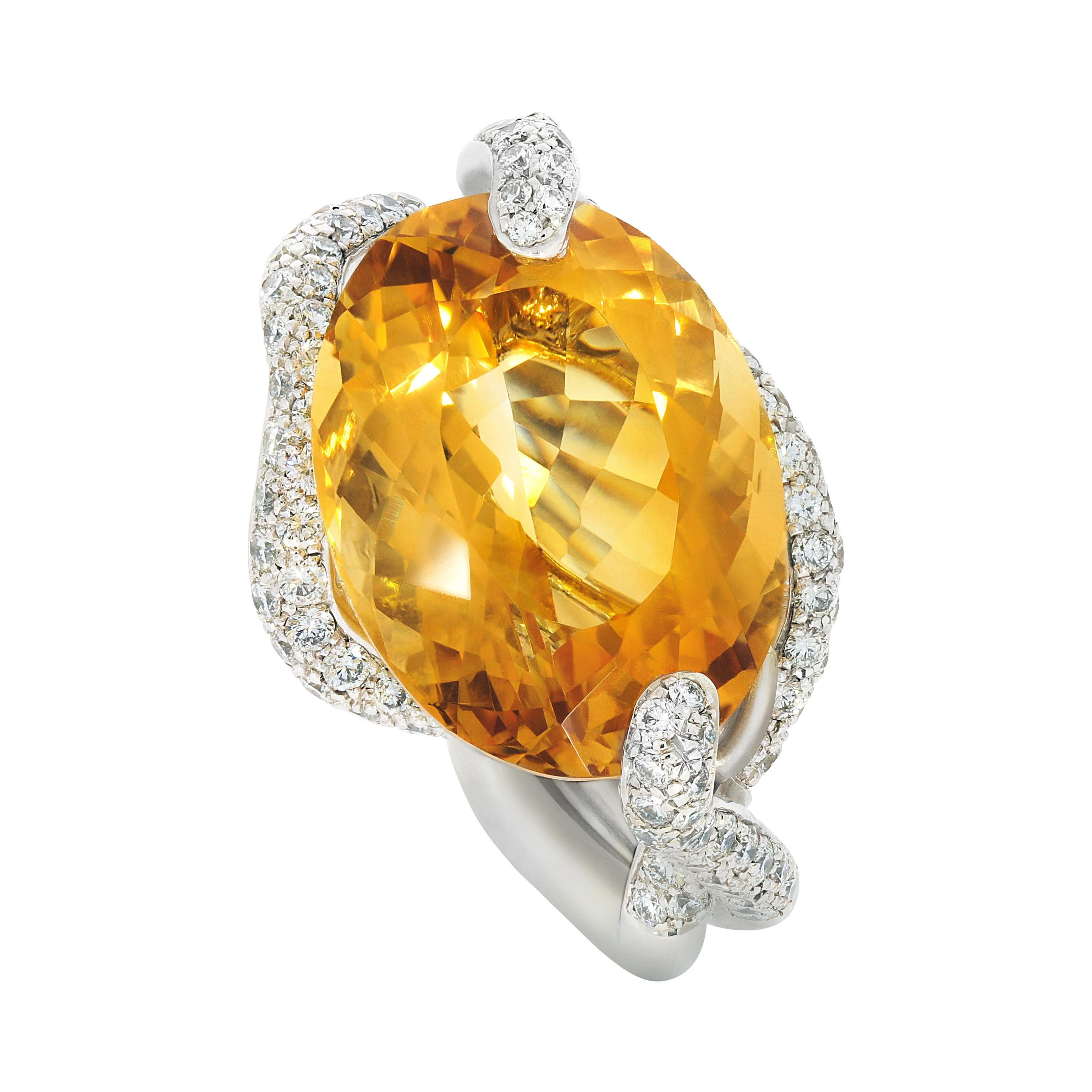 Yellow Topaz and Diamond Contemporary White Gold Cocktail Ring