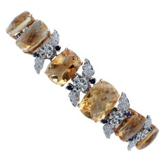 Yellow Topaz, Blue Sapphires, Diamonds, 14 Karat White Gold Bracelet