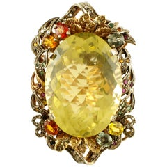 Yellow Topaz, Diamonds, Emeralds, Rubies, Sapphires, 9k Rose Gold & Silver Ring