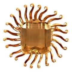 Yellow Topaz Yellow Gold Sun Brooch Pin