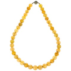 Yellow Tourmaline Bead and Sapphire Gold Necklace