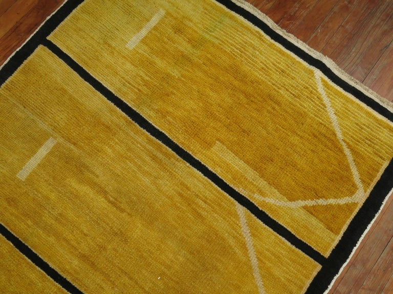 Wool Yellow Turkish Modernist Runner For Sale
