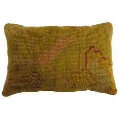 Yellow Turkish Oushak Lumbar Rug Pillow