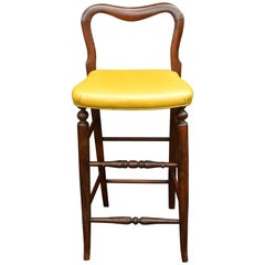Yellow Upholstered Mahogany Bar Stool