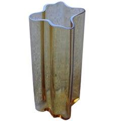 Yellow Vase Murano Glass Italian Design 1970s Mangiarotti Attributed