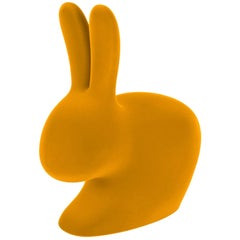 Yellow Velvet Baby Rabbit Chair, Designed by Stefano Giovannoni, Made in Italy