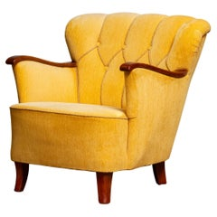 Yellow Velvet Lounge / Easy / Club Chair with Mahogany Details from Sweden, 1940