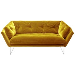 Yellow Velvet New York Suite Sofa, Designed by Sergio Bicego, Made in Italy