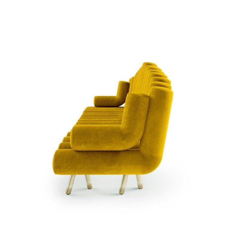 Modern Yellow Velvet Sofa with Brass Legs For Sale